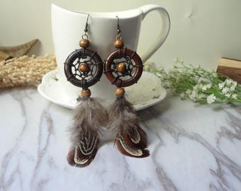 The handmade solid wood rings for dreamnet feather earrings 0363