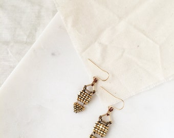 Unique Gold Triangle Drops - Festive Beaded Dangle Drop Earrings Bohemian Style w/ Fish Hook Back - Tiny Gold-Plated & Gold-Filled Beads