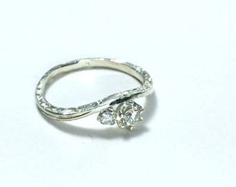 Dainty engagement ring Engraved engagement ring Diamond engagement ring