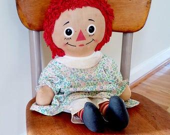 Primitive Raggedy Ann Doll - Vintage Cloth Doll - 16 Inch Dressed Raggedy Anne Doll - Knickerbocker Raggedy Ann Doll - 1960s Primative Doll