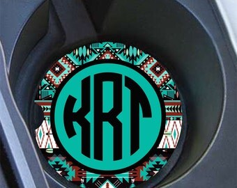Teal Aztec car coasters, Single or pairs, Monogrammed car accessories for women (1254)