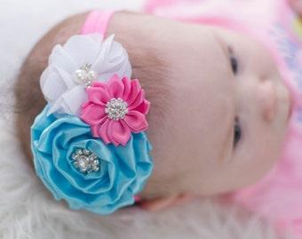 Baby Headband, Infant Headband, Newborn Headband, Pink, Aqua Blue, and White Headband, - Aqua, Pink, and White Baby Headband, Pink and Aqua
