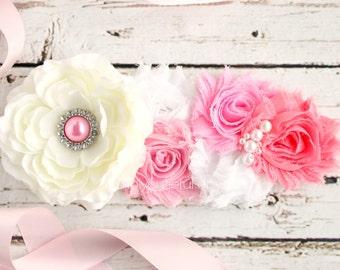 Pink Maternity Sash,Pregnancy Belt, Photo Prop, Pregnancy  It's a Girl Floral Baby Shower Belly Sash, and Wedding Bridal Sash