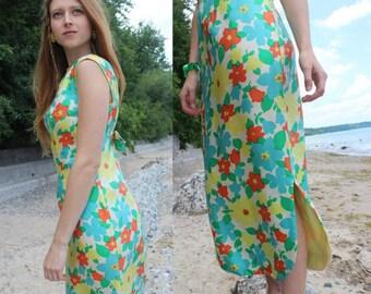 """60s Vintage Silk Dress TEA Length STEFENEE Model by """"Philip Hulitar"""" Medium Woman's WATERCOLOR Floral Print Formal Prom Weddings Garden Gown"""