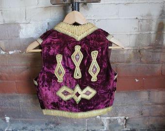HENDRIX 1940's Ottoman Waistcoat Vest in Royal Purple Panne Silk Velvet & Metallic Gold Couching Embroidery
