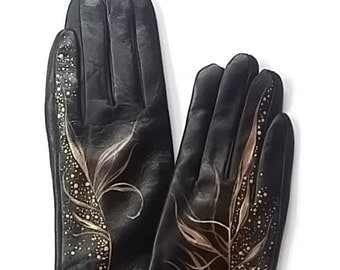 Leather gloves with drawing  - SIAZE 7 - Hand painted - ready to ship - gift - autumn - gift for her - brown- yellow - gold - elegant gloves