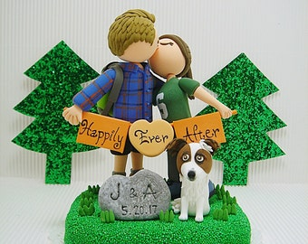 Avid hikers with dog Custom wedding cake topper