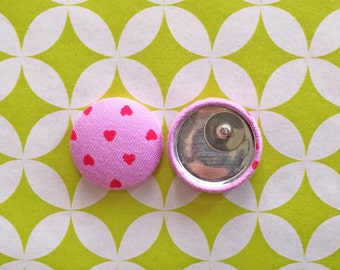 Fabric Button Earrings / Hearts / Valentines Day / Pink and Red / Wholesale Jewelry / Handmade Earrings / Small Gifts / Love / Anniversary