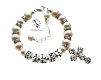 Baby Bracelet, Personalized Baptism Bracelet, Custom Name Bracelet, Baby Girl Baptism, Baptism Gift, Christening Gifts, Personalized Baby