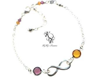 Infinity Bracelet Grandma Bracelet Birthstone Bracelet Mothers Bracelet Mothers Jewelry Birthstone Jewelry Mom Gift Mothers Day Gifts