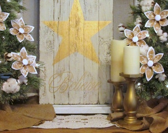 "Rustic Wood Sign, Gold Farmhouse Christmas Sign ""Believe""  Inspirational Words, Gold Nursery Decor, Christmas Mantel Decor, Believe Sign"