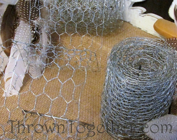 "Galvanized Chicken Wire Ribbon 4in X 9ft Small Link 1/2"" Silver Chicken Wire Craft Ribbon"