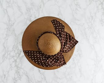 1950s Polka Dots Straw Hat - Vintage 50's Fashion - Portofino Hat