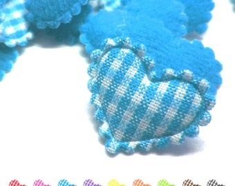 "100pcs x 3/4"" Gingham Cotton Heart Padded/Appliques"