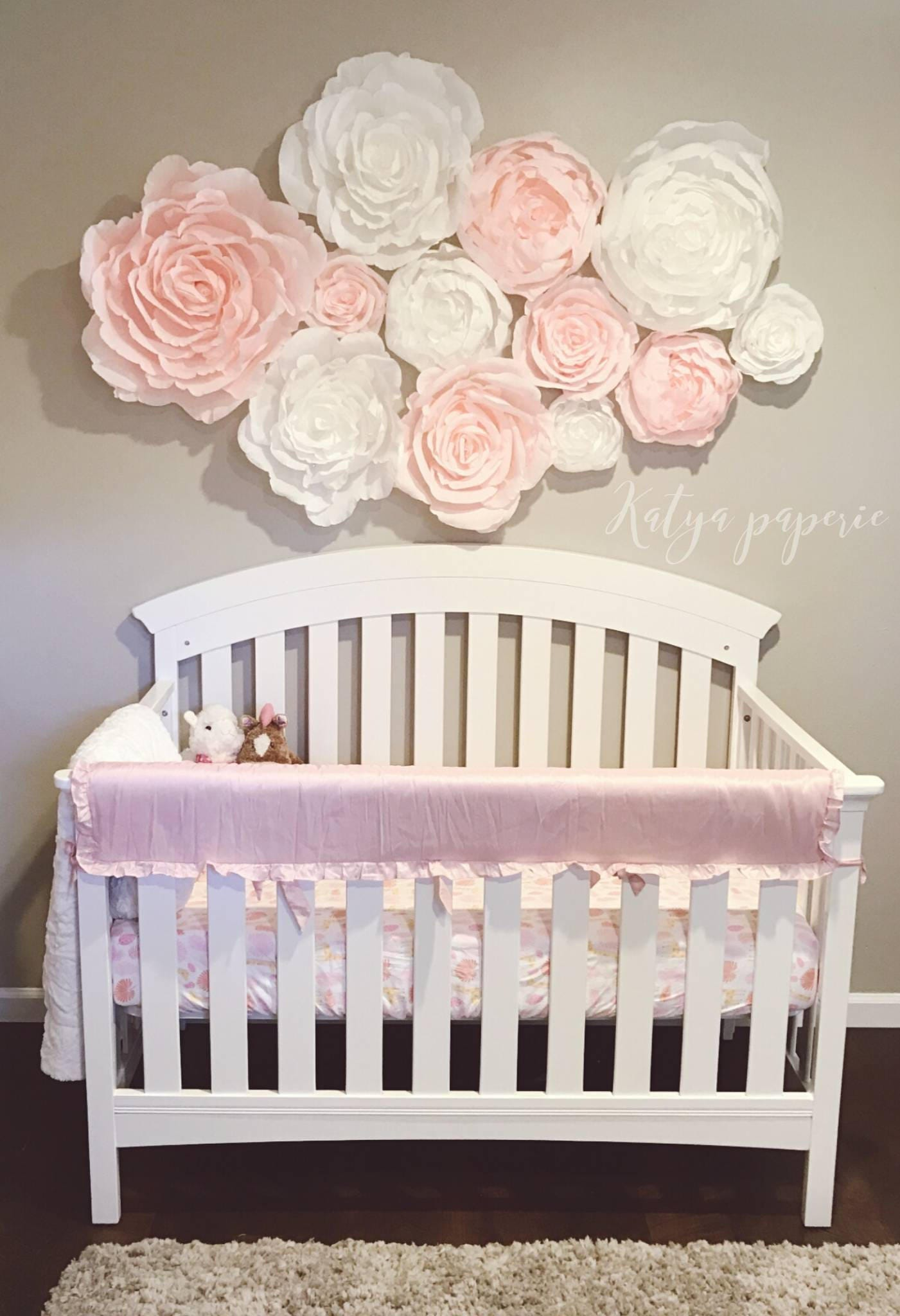 Blush Nursery Wall Paper Flowers Paper Flower Wall Display