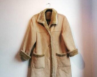Shearling Coat Vintage Fur Suede Brown Tan Retro 1970s 70s 1960s 60s Penny Lane Caramel Duffel Coat Hippie Faux Shearling Coat