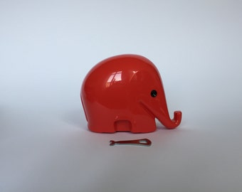 10% OFF Vintage Colani Style Elephant Piggy Bank WITH KEY. Space Age. Red. German. Piggy Bank. Drumbo. Germany. 2017_022