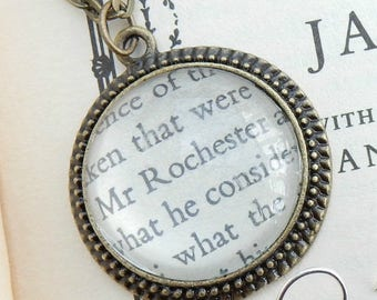 Jane Eyre pendant, Mr Rochester jewellery, Charlotte Bronte, Bronte fan, upcycled book, gift for book lovers, literary gift, recycled