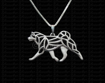Japanese Akita Inu - sterling silver pendant and necklace
