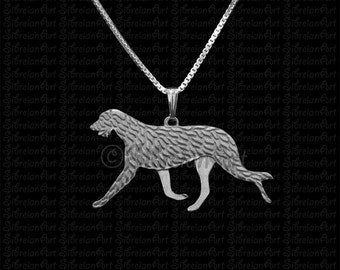 Irish Wolfhound movement - sterling silver pendant and necklace.