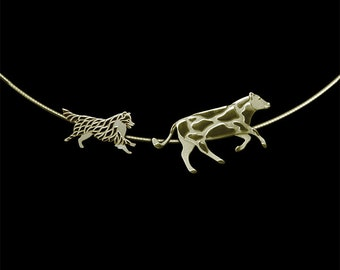 Working Australian Shepherd (with a tail) and Cow necklace - gold