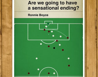 West Ham goal in 1964 Cup Final - Ronnie Boyce Print - Classic Book Cover Poster - Football Gift (Various Sizes)