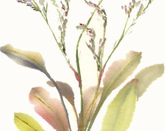 Marshland Sea Lavender Original Watercolor Painting Chinese Brush Art