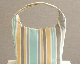 Large Insulated Lunch Bag, Large Women Lunch Bag,Large Work Lunch Tote,Large Lunch Bag,Reusable Lunch Bag,Multiple Stripes Gray Yellow Teal