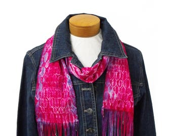 Fuchsia Pink Shibori Scarf, Hot Pink Scarf Hand Painted, Pink w Purple Edges Scarf Handwoven, Hand Woven Scarf Cotton, Tie Dyed Scarf Ladies