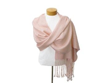Blush Wedding Shawl with Beaded Fringe, Hand Woven Shawl, Petal Pink Wrap, Handwoven Shawl, Wedding Stole Blush, Pink Shawl Wedding Bride