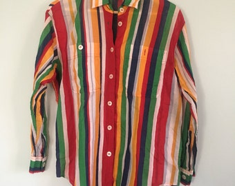 Vintage Liz Claiborne Rainbow Striped Blouse