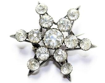 Antique Victorian Georgian Silver Coloured Sparkly Rhinestone Diamante Paste Stones Sparkly Star Brooch (c1800s) FREE SHIPPING