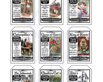 Fantasy Potion Labels -- Alice in Wonderland, GIFT TAGS (2 x 3 inches)