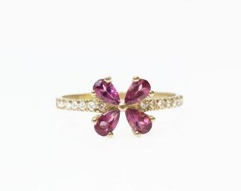 Pear garnet Ring, Diamonds ring, Engament ring , Purple Garnet Engagement Ring, Pear Cut Garnet Ring, Uniqe engagment ring, Flower ring