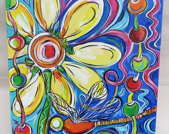 The Daisy, the Dragonfly & the Beads - A Favorite Things Piece - 16x16 Inch Original Acrylic Painting - Pop Art - Color Your World