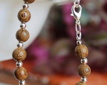 Wood and silver bead bracelet