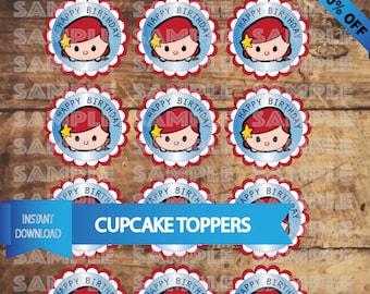 Tsum Tsum LITTLE MERMAID Cupcake Toppers