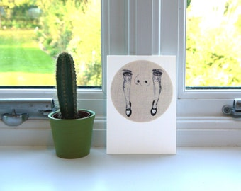 Eyes Legs and Loafers Postcard - Pretty Ugly Postcard - Postcard Print - Embroidery - Illustration - Portrait