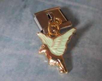 Winged Horse Sparkly Dangling  9mm Italian Style Nomination Bracelet Charm Stainless Steel Bracelet Making Silver Toned single charm dangler