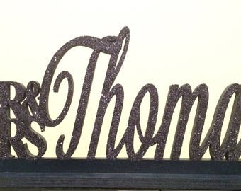 Mr. & Mrs. Lastname table sign. Sweet Heart Table decor. Wedding Decor. Glitter table sign.
