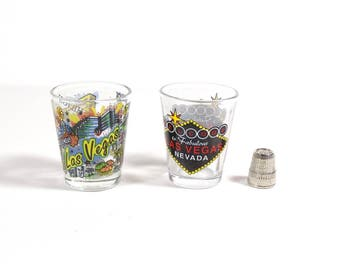 Pair Las Vegas Shot Glasses, Vintage Las Vegas Nevada Shot Glasses, Donmar Lady M - Best Man Groom Gift Fathers Day Poker