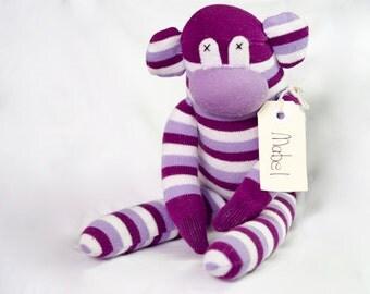 Purple pink sock monkey, sock animal, soft plush toy monkey. Mabel Monkey.