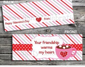 Valentine Bag Topper, Printable Hot Cocoa Bag Topper, Instant Download, School Treat, Classroom, Teacher Valentines, Valentine Hot Cocoa