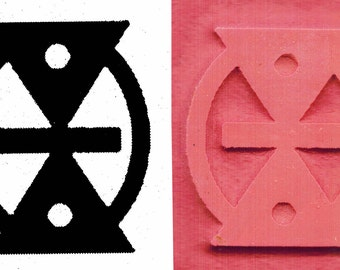 Small African Adinkra MMERE DANE Life Change with Time - Ceramic Stamp - African Adinkra Life's Changes Over Time Small Design Stamp