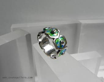 Sterling Silver Enamel Ring.Contemporary Spanish Modern Jewelry.NUTS Ring.925 Silver and Vitreous Enamel.Designers Jewelry by Asun Aguilera