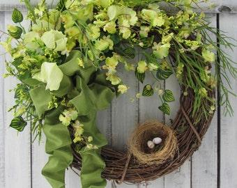 Mothers Day Wreath,  Spring/Summer Wreath, Birdnest Wreath, Floral Wreath, Wreath for the Door, Country Wreath,  Birdnest Wreath
