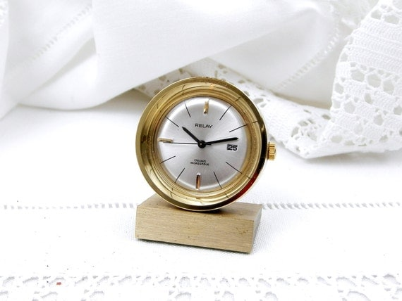 """Rare Vintage Quality Miniature 17 Jewel """"Relay"""" Working Mid Century French Mechanical Wind Up Clock, Home, Timepieace, Collection, Watch"""