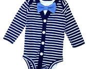 Baby Boy Cardigan and Bow Tie Set - Navy Blue Stripes - Trendy Baby Boy
