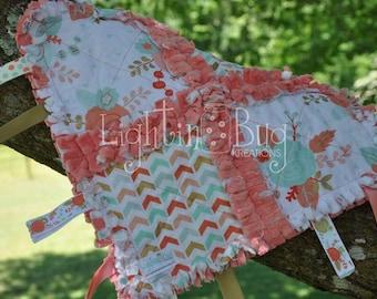 Shabby Gold/ Coral Garden Minky Tag Rag Blanket