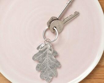 Acorn Oak leaf Keyring English handmade pewter